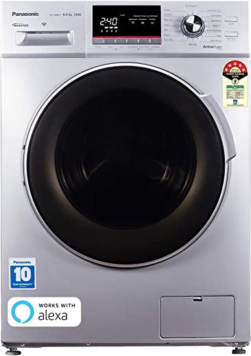 Panasonic 8.0 Kg 5 Star Wifi Inverter Fully-Automatic Front Loading Washing Machine (NA-148MF1L01, Silver, Compatible with Alexa)