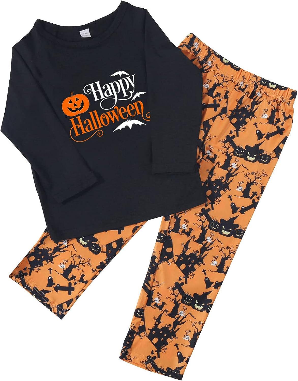 Family Halloween Pjs Matching Sets Pumpkin Print Long Sleeve Tee and Pant Sleepwear