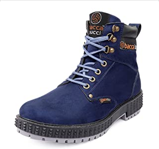 Bacca Bucci 4-Eye Artificial Suede Scott Moto Inspired Combat High top Ankle Boots for Men