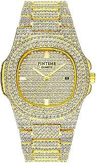 Best Unisex Luxury Full Diamond Watches Silver Gold Fashion Quartz Analog Stainless Steel Band Bracelet Wrist Watch Review