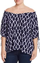 Michael Michael Kors Women's Plus Size Ikat-Print Off-The-Shoulder Top, Dark Lavender