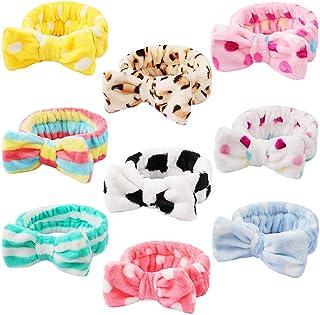 9 Pack Spa Headband Facial Makeup Headband, Coral Fleece Cosmetic Headband Face Wash Headband , Bow Hair band for Washing Face Terry Cloth Headbands for Women Girls (Color A)