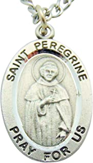 St Peregrine Solid Pewter One Inch Saint Medal with Stainless Steel Chain