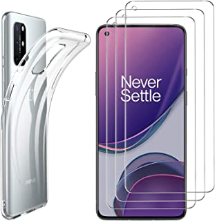 Luibor for OnePlus 8T Case + OnePlus 8T Screen Protector[3 Pack], Silicone Phone Case for OnePlus 8T, Anti-fingerprint Ant...