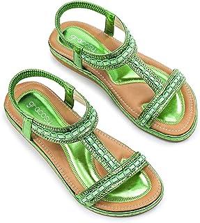 : Vert Sandales mode Sandales et nu pieds