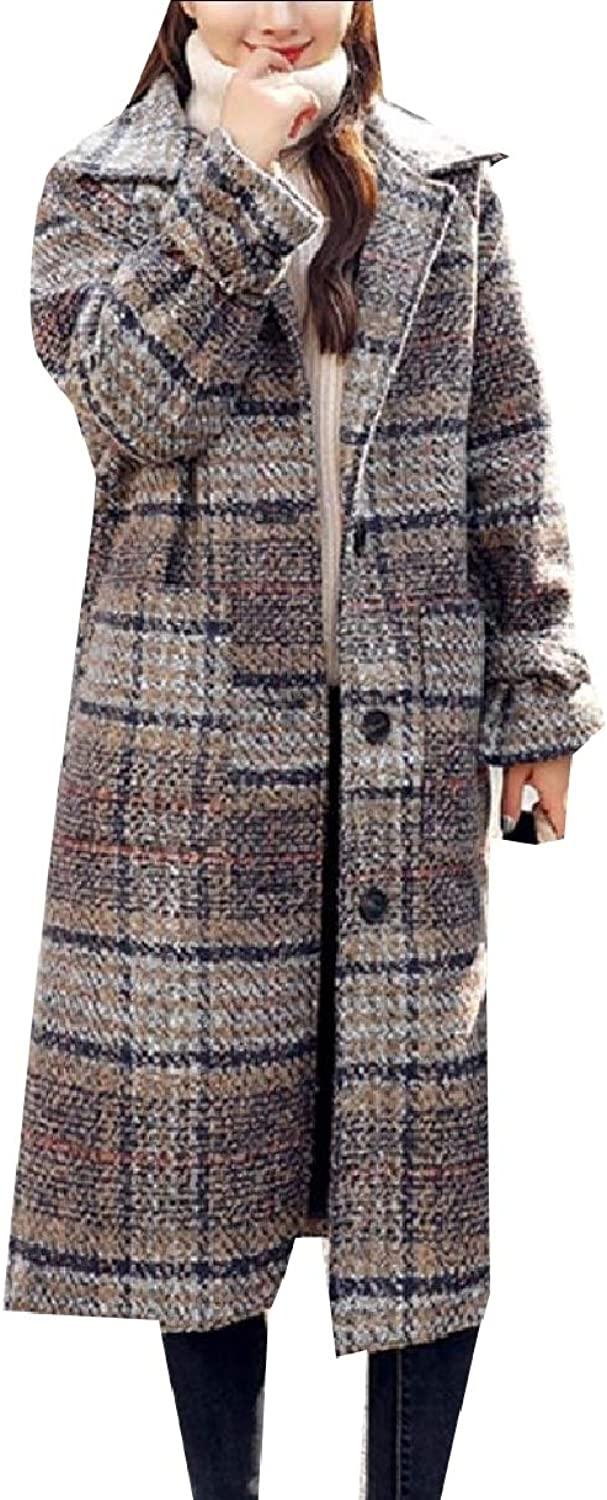 Baseby Women's Thickened Ankle Length Plaid Wool Blends Warm Woolen Coat