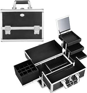 Joligrace Makeup Train Case Organizer Box Professional Multi-Purpose Cosmetic Storage with Sliding Trays, Polish Slots & Mirror, Portable Lockable with Keys, Large Black