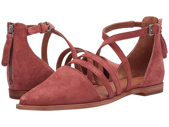 Frye  Kenzie Moto Strappy (Rosewood Suede) Womens Flat Shoes