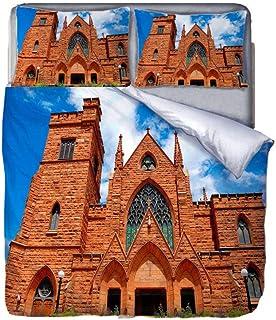 WSKMHK Iglesia Blanca 3 Piezas 3D Modelo Poli Algodón Colcha Cama Dormitorio De Adultos Adolescentes Conjunto Cremallera con Fundas De Almohadas Cama Decoraciones,200X200