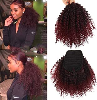 LEOSA Curly Ponytai Black Gradient Red Draw String Kinky Curly Ponytail African Hair Short Wrap Synthetic Ponytail Extensions