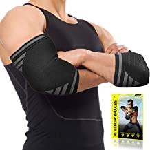 Langov Elbow Brace For Men And Women (Pair) – Elbow Compression Sleeve For Tendonitis, Weightlifting, Golfers & Tennis Elb...