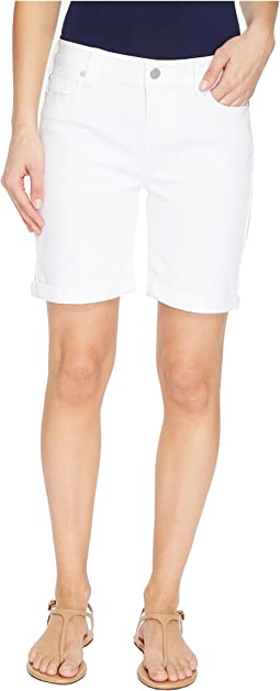Liverpool - Corine Rolled-Cuff Walking Shorts on Vintage Slub Stretch Twill in Bright White