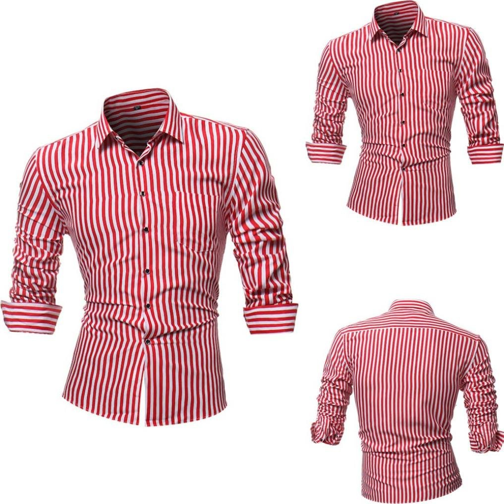 Camisas hombre Rayas de manga larga camiseta de otoño e invierno estilo invierno,YanHoo® Mens Casual color manga larga camisa negocio Slim Fit camisa impresa blusa (Rojo, L): Amazon.es: Iluminación