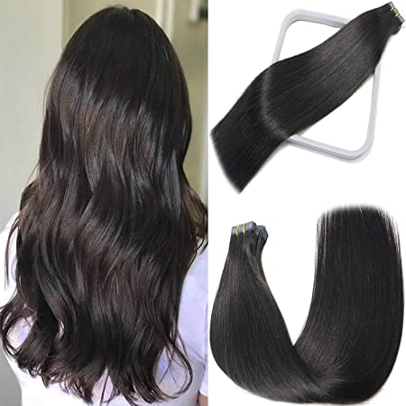 20pcs 20 inch Super Tape-in 100/% Human Hair Extensions Remy A #1 jet black