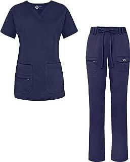 Adar Uniforms Womenâ€s Scrub Set - Enhanced V-Neck Top/Multi Pocket Pants