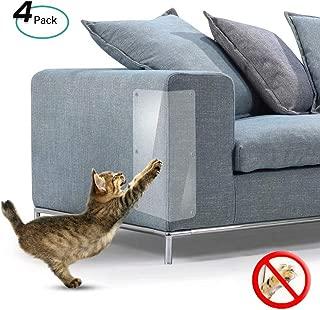 Konesky Cat Scratch Protector Muebles Scratch Guards Flexible Clear Cats Scratching Furniture Defender con Pasadores (4PCS)