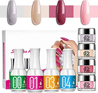 Dipping Powder Kits for Nail 4 Colors Dipping Powder System Starter Kit Acrylic Dipping System for French Nail Manicure Nail Art Set Essential kit