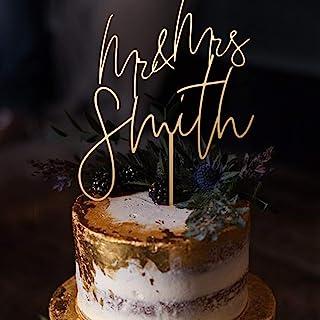 Luxtomi - تاپر کیک عروسی شخصی - آقای و خانم - با انتخاب طرح ، رنگ ، متن و اندازه - ساخت آمریکا ، سفال مخصوص کیک سالگرد خود را سفارشی کنید