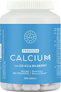 Calcio (500mg) Optimizado y Natural Aquamin con Vitamina D3 & K2-4 x mas absorcion - 120 Tabletas Formula Avanzada