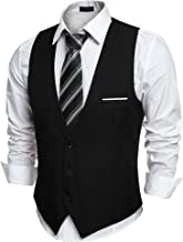 black suit with red vest and tie