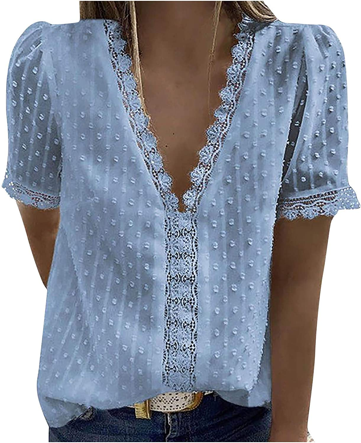 4 years warranty Lace Trim Tops for Women Breathable T-S Sleeve Short Online limited product Sexy V-Neck