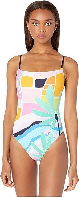 Mosaic Sunrise High-Leg Maillot One-Piece Swimsuit