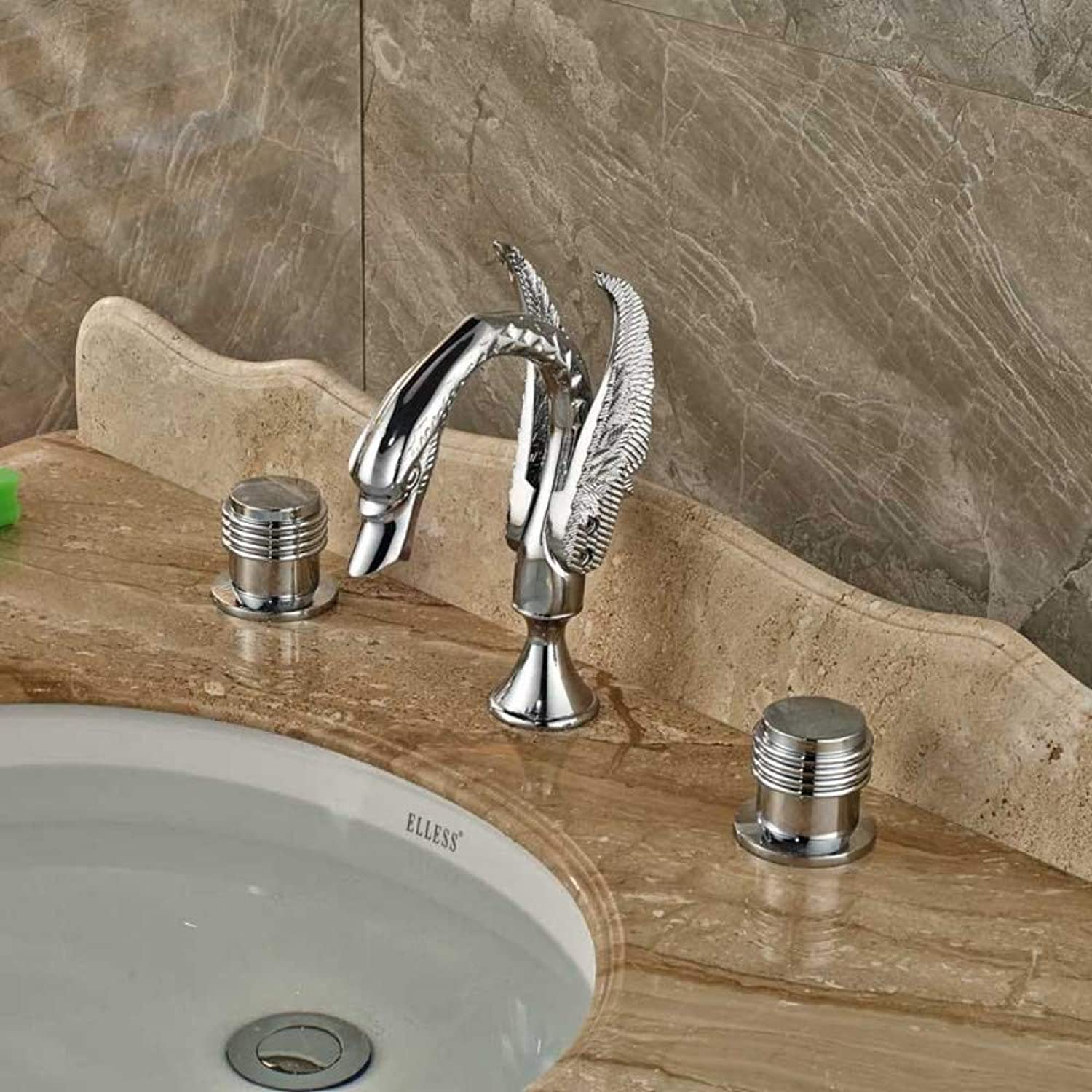 CZOOR Polished Chrome Swan Style Widespread 3 Hole Basin Sink Faucet Dual Handle Deck Mount Lavatory Sink Mixer Tap