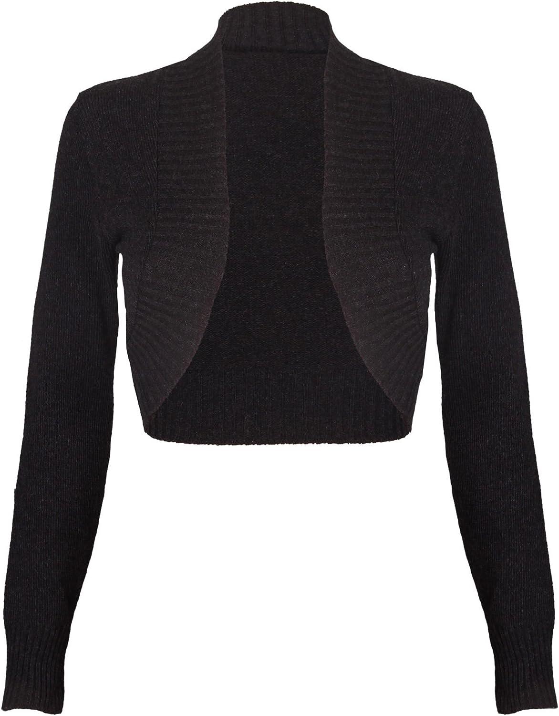 Purple Hanger Women's Ribbed Knitted Crop Bolero Shrug Cardigan Dark Grey 4-6