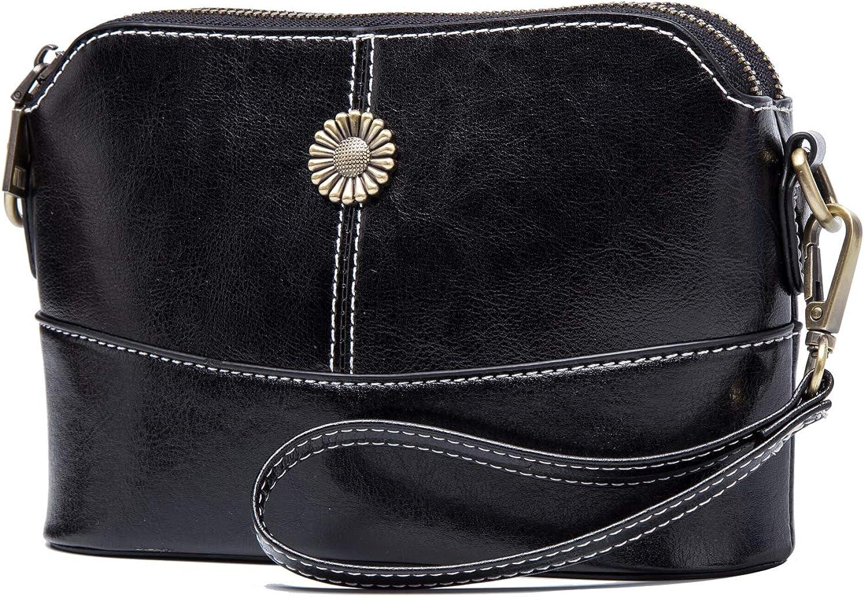 BISON DENIM Leather Wristlet Clutch Wallet Small Crossbody Shoulder Bag Clutch Handbag Purses for Women Sunflower Design