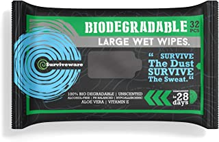 Surviveware Biodegradable Wet Wipes for No Rinse Bathing and Showers. Great for Camping, Travel, Body Cleansing, Personal Hygiene and Cleaning. Vitamin E and Aloe Enriched. Hypoallergenic & Unscented
