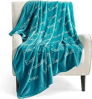 Bedsure Healing Thoughts Throw Blanket - Super Soft Flannel Fleece Blanket with Inspirational Positive Energy Healing Thou...