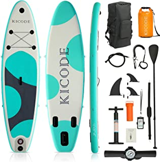 Kicode Inflatable Paddle Board for Adults (6 Inches Thick) Premium Stand Up SUP Accessories & Carry Bag, Waterproof Bag, N...