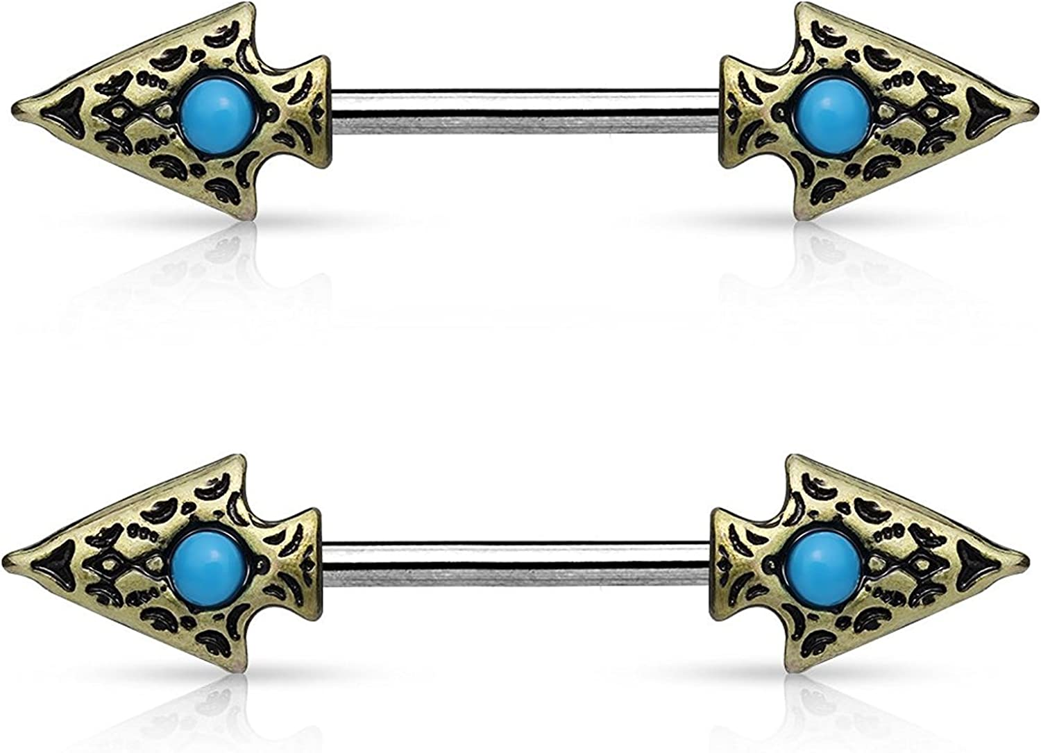 Covet Jewelry Turquoise Set Tribal Spear on Both Sides 316L Surgical Steel Nipple Barbells