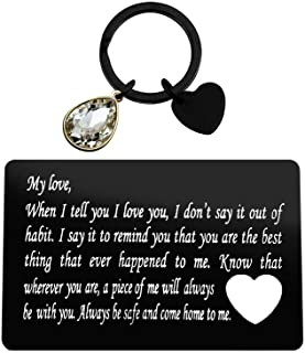 Couple Gift Engraved Metal Wallet Card Inserts Keychain Set Valentine's Day Jewelry When I Tell You I Love You Anniversary...