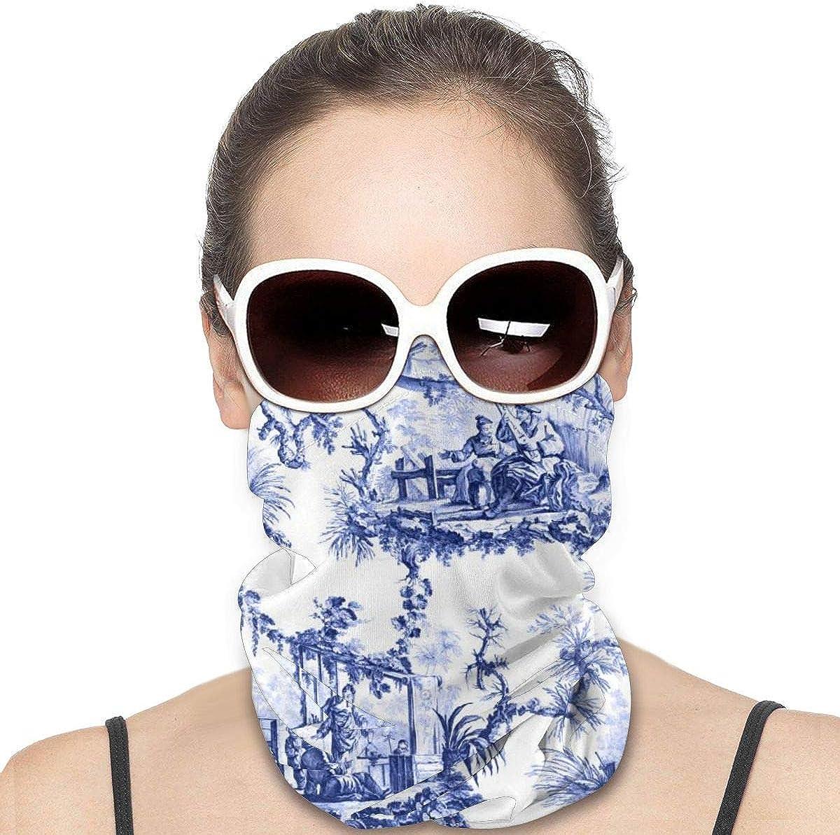 JinSPef Motorcycle Masks for Men - Chinoiserie Blue and White Bandana Face Mask Bandana Face Mask Face Scarf Head Bands Neck Warmer Men Headband Neck Gaiter