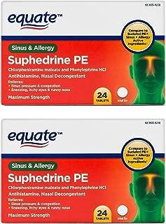 Equate Suphedrine PE Maximum Strength Sinus and Allergy Compare to Sudafed PE Sinus + Allergy (Pack of 2)