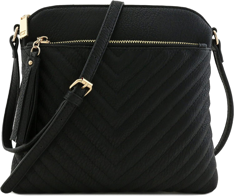 Chevron Quilted Medium Crossbody Bag with Tassel Accent