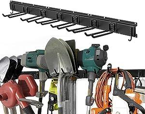 Garage Tool Organizer Wall Mount, 11 PCS Garden Tool Rack with 8 Adjustable Heavy Duty Storage Hooks, Aluminum Tool Storage Racks 48 Inch, Max Load to 280lbs