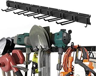 WMK Garage Tool Organizer Wall Mount, 11 PCS Garden Tool Rack with 8 Adjustable Heavy Duty Storage Hooks, Aluminum Tool St...