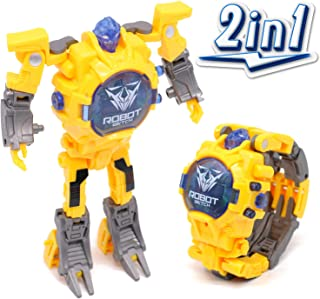 J-eaS Transform Toys Robot Watch 2 in 1 [Yellow] Kids Digital Watch Deformation Robot Toys Creative Educational Preschool Learning Toys