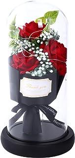 バラ、枯れないバラ3本、薔薇の花束 妻 誕生日プレゼント暖かいLEDライトビーズ20個 花束 女性 女友達 妻 母の日 誕生日 結婚祝い 出産祝い お祝い 退職祝い 送別会 発表会など最適なギフト メッセージカード付き バラケーキ
