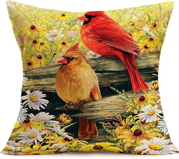 Smilyard Throw Pillow Covers Modern Multicolor Vintage Bird Red Cardinals Decorative Pillow Case Cotton Linen Daisy Flower Pillow Covers 18x18 Inch Hidden Zipper Decor Outdoor Home Sofa Red Bird