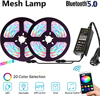Led Strip Lights RGB Flexible Color Change Light Changes with The Rhythm of Music APP Group Control Timing Setting Often Used in Home Party Bedroom DIY 32.8ft 10m (Mesh-Music Rhythm-RGB)