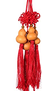 WSSROGY Pack of 10 Chinese Traditional Knot Wooden Gourd Feng Shui Soft Tassel Charm Accessories Hu Lu Gourd Office Bedroom Car Decoration