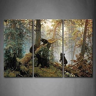 First Wall Art - Oso Jugar en el Bosque Cuadros en Lienzo Animales Decoracion de Pared 3 Piezas Modernos Mural Fotos para Salon,Dormitorio,Baño,Comedor