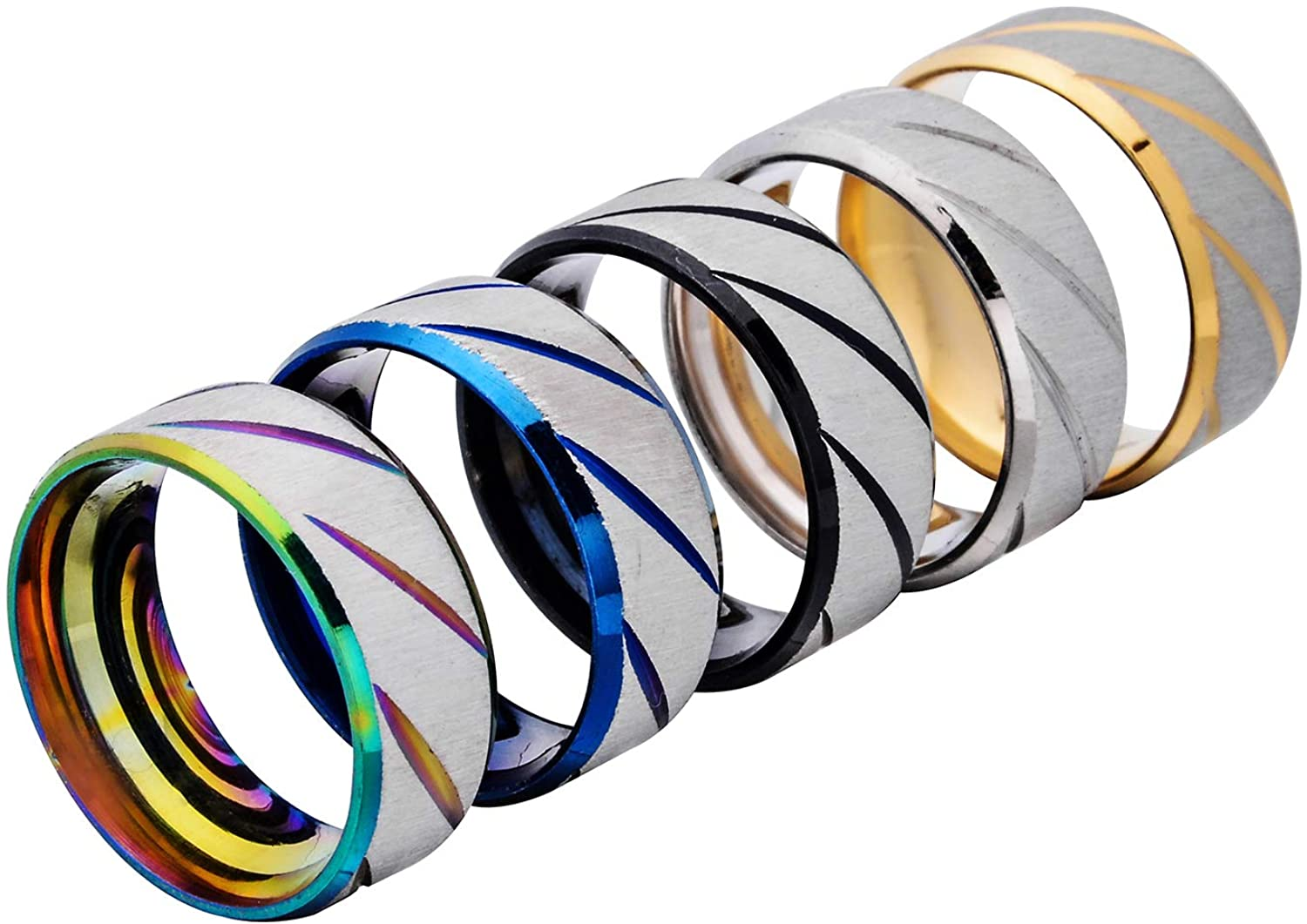 W WOOGGE Spring new work 5 Pack of Stainless Steel Wed Worry Lucky for Men Translated Rings
