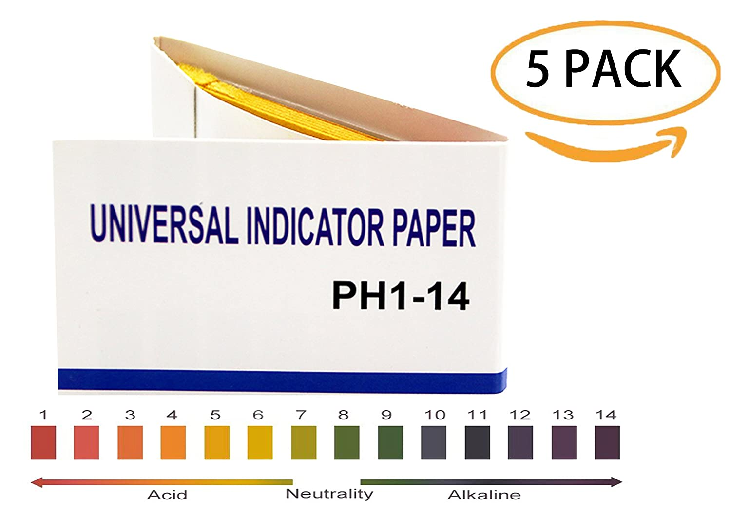 PH 1-14 test Paper,PH universal Indicator Paper for testing water quality/soil/urine/saliva/cosmetics,80 per pack(5 Pack)