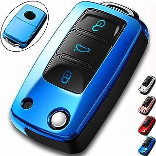 COMPONALL for VW Key Fob Cover,Compatible for VW Beetle Passat Tiguan Touran Jetta MK1-MK6 Golf GTI/Rabbit/R/MK6/MK5 Premium Soft TPU Full Protection 3-Buttons Key Fob Shell, Blue