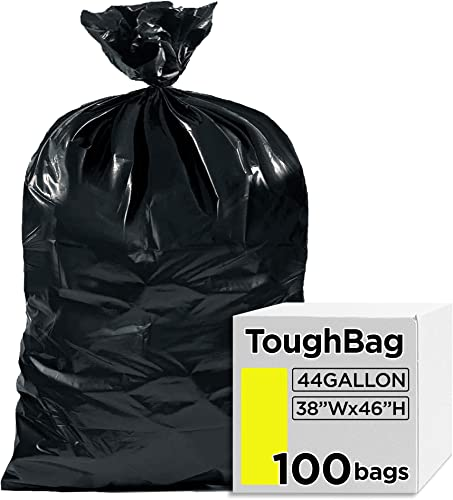"""lowest ToughBag 44 Gallon Commercial Trash Bags, 38x46"""" Black Garbage Bags (100 2021 COUNT) – Large Outdoor Trash Can Liners for high quality Custodians, Landscapers, and Contractors - Made in USA online sale"""