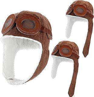 Syhood 3 Pieces Pilot Hat Children Fleece Warm Cap with Goggles Boys Winter Hat,  Brown